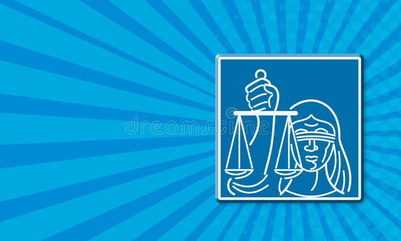 Senhora Blindfolded Holding Scales de justiça ilustração stock