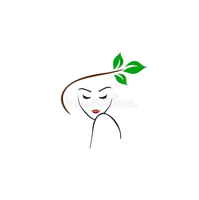 Senhora bonita com cabelo abstrato ilustração royalty free