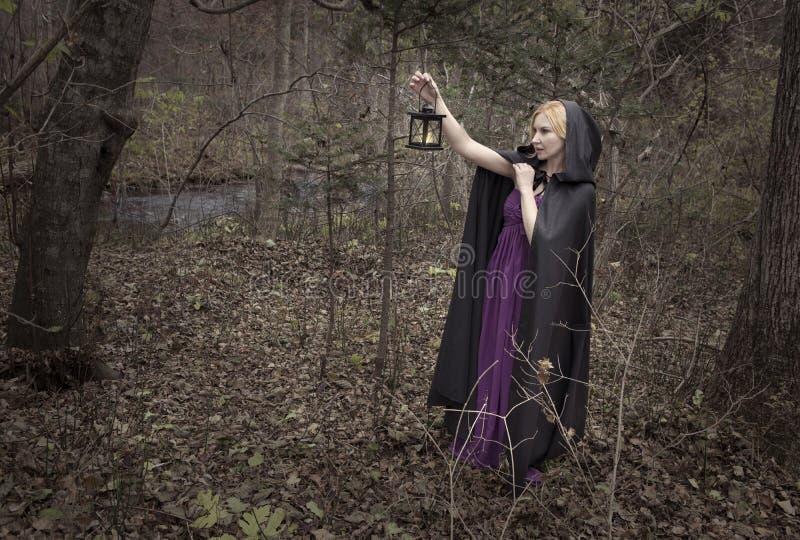 A senhora bonita com lanterna perdeu na floresta do outono foto de stock