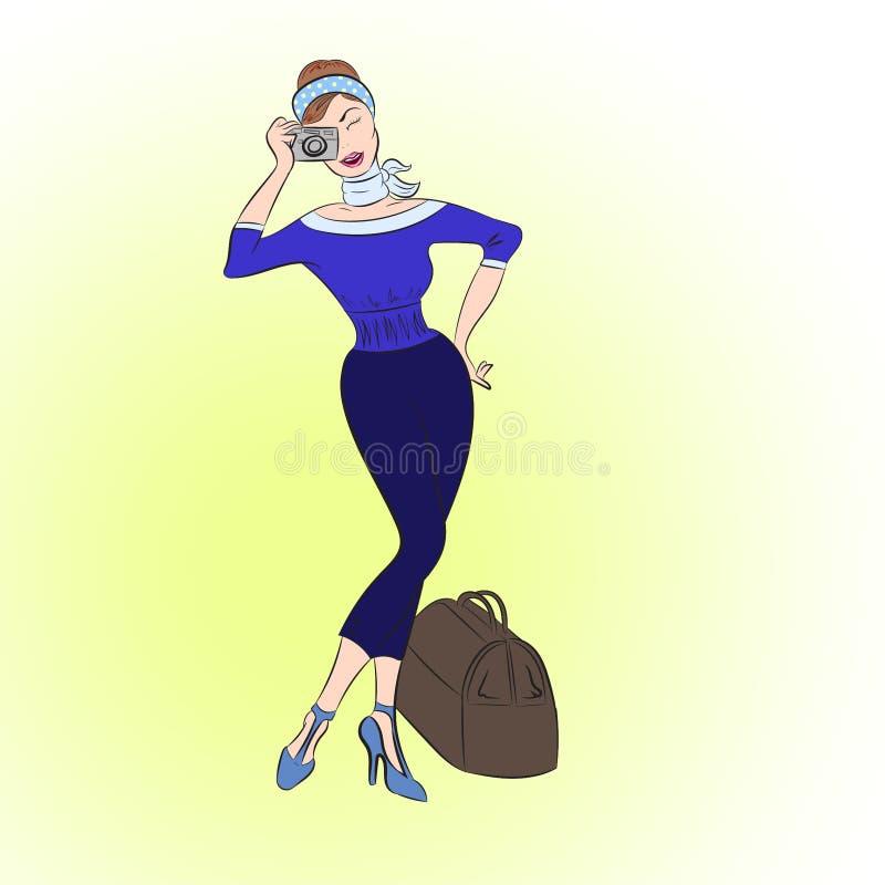 Senhora bonita com uma câmera e uma mala de viagem ilustração royalty free