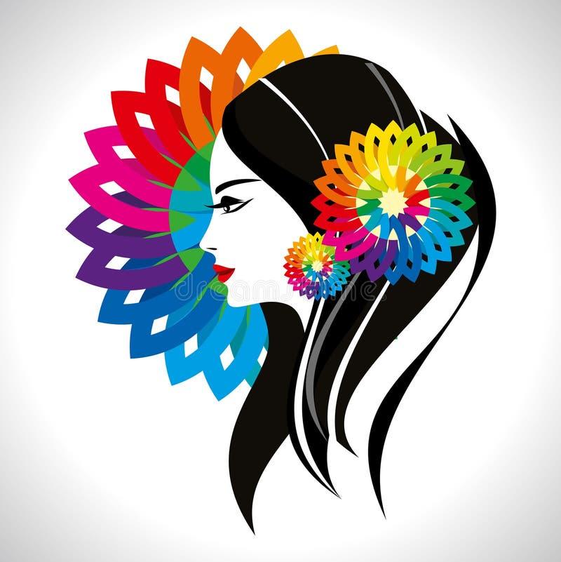 Senhora bonita da forma com teste padrão floral ilustração royalty free