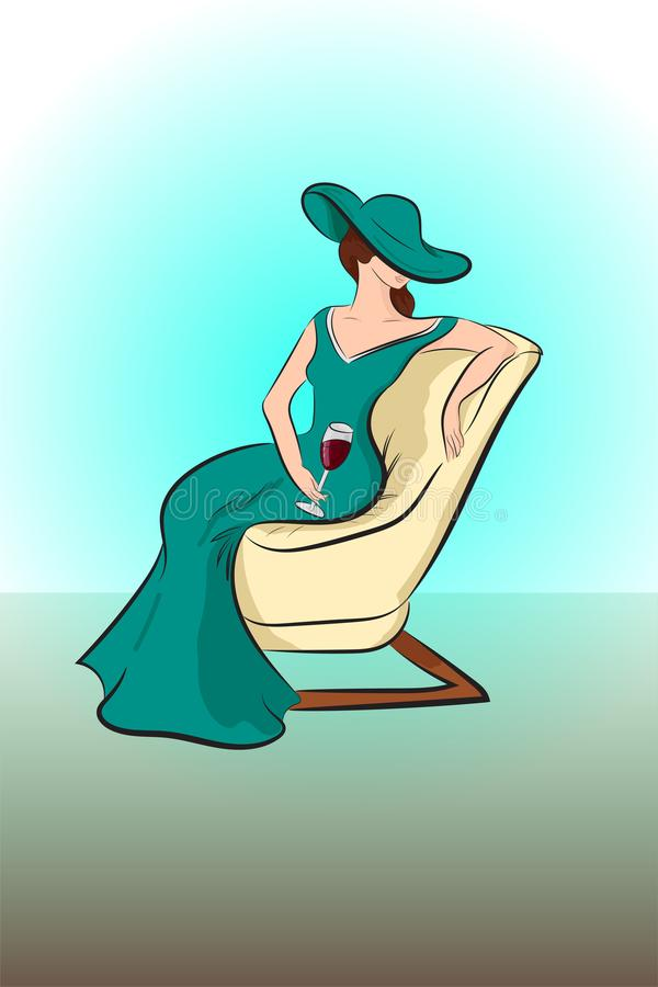 Senhora bonita em um vestido do verde longo ilustração royalty free