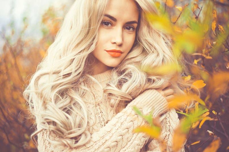 Senhora bonita folhas de outono cercadas imagem de stock royalty free