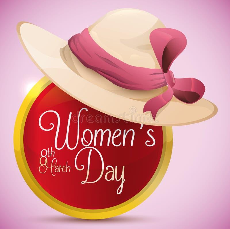 Senhora bonita Hat sobre o botão lustroso com mensagem do dia das mulheres, ilustração do vetor ilustração stock