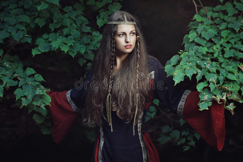 Senhora bonita medieval fotos de stock