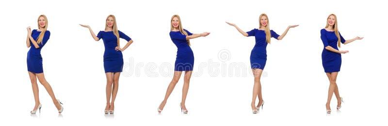 Senhora bonita na obscuridade - vestido azul isolado no branco imagens de stock