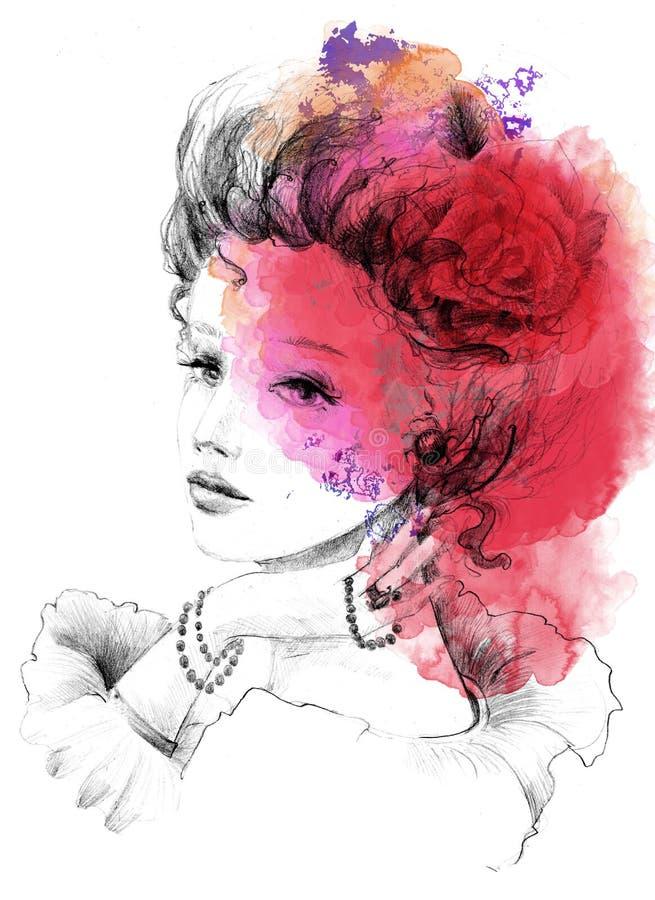 Senhora bonita na técnica do lápis com aguarela ilustração stock