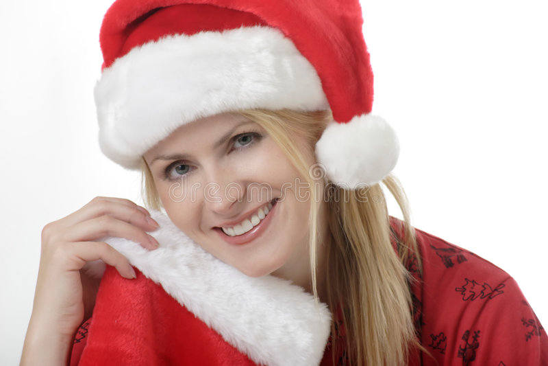 Senhora bonita no chapéu de Santa fotos de stock