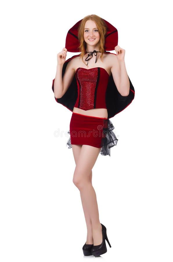 Senhora bonita no vestido do bordo de veludo com tampão fotografia de stock