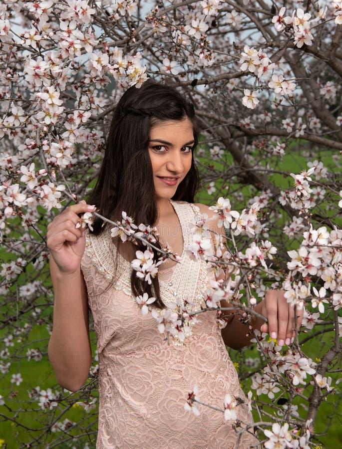 Senhora bonita nova atrativa, apreciando flores da flor da ameixa da mola imagem de stock