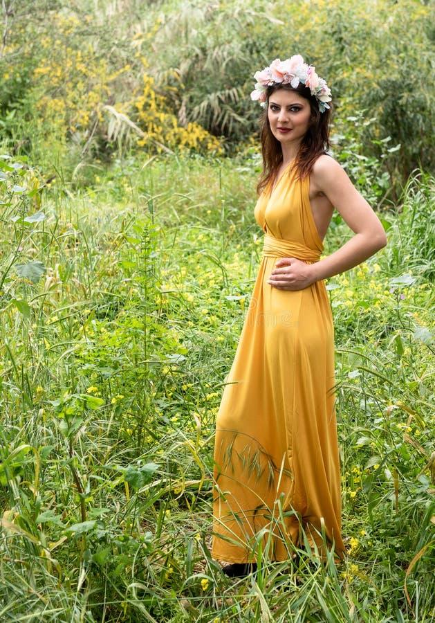 Senhora bonita nova atrativa nos campos verdes fotografia de stock royalty free