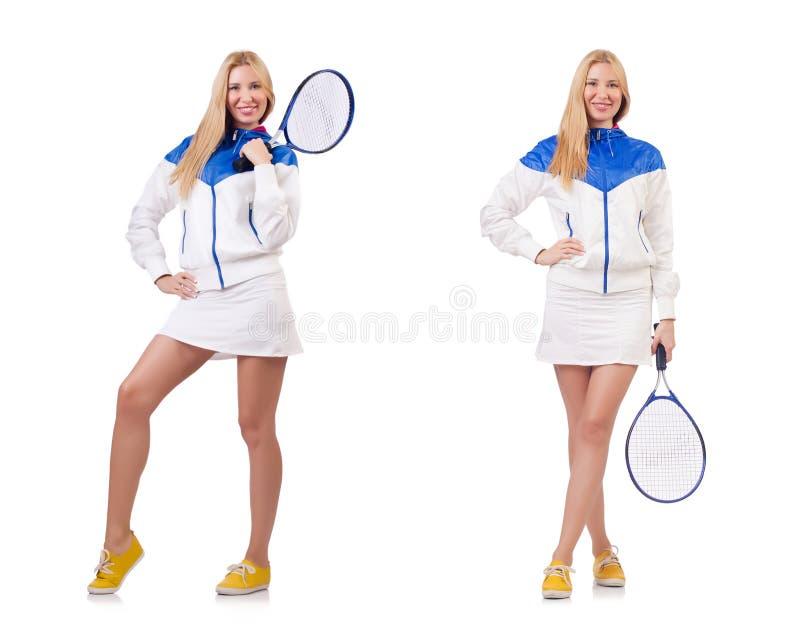 A senhora bonita nova que joga o tênis isolado no branco foto de stock