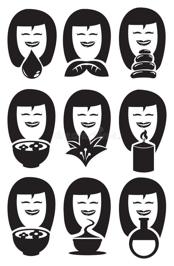 Senhora bonito Faces com grupo do ícone do vetor dos símbolos dos termas ilustração do vetor