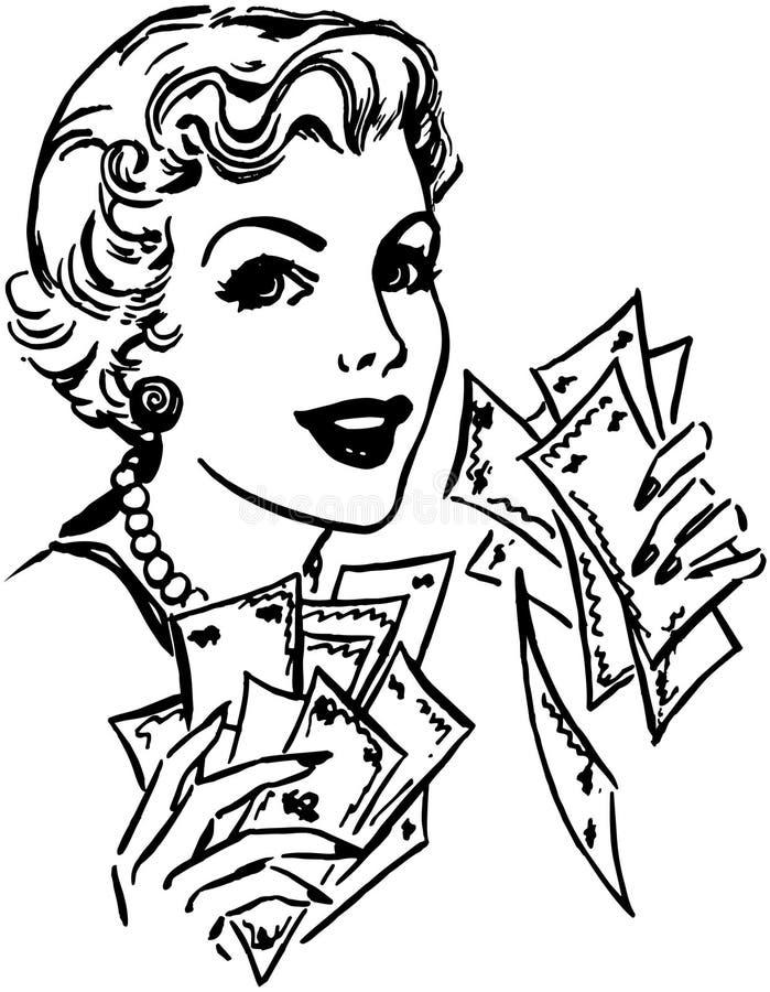 Senhora With Cash ilustração do vetor