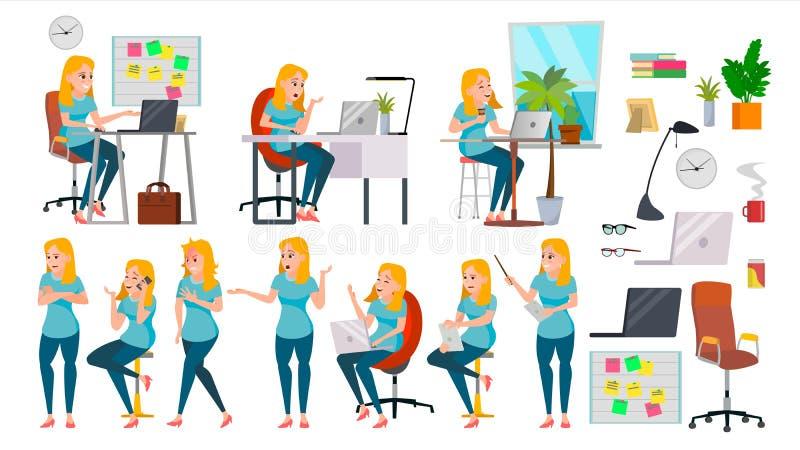Senhora Character Vetora da mulher de negócio Fêmea de trabalho na ação A TI Partida Negócio Empresa Vendedor eficaz mesa ilustração stock