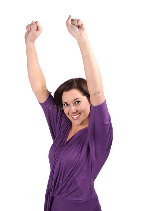Senhora Cheering da beleza fotografia de stock