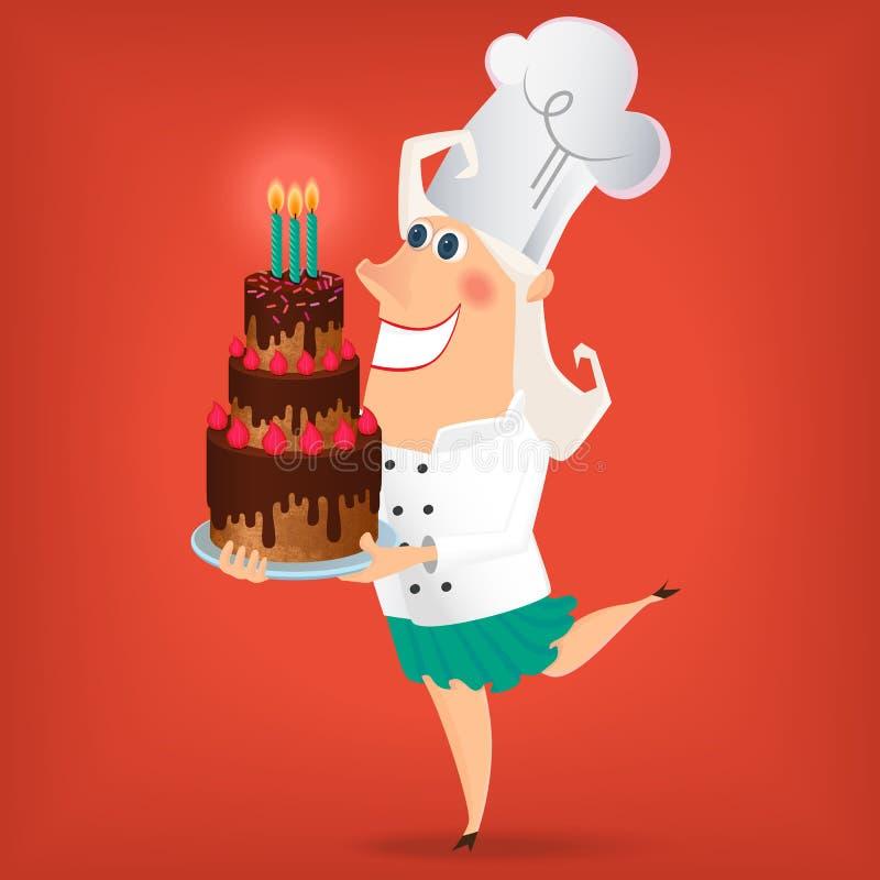 Senhora Chef dos desenhos animados ilustração royalty free