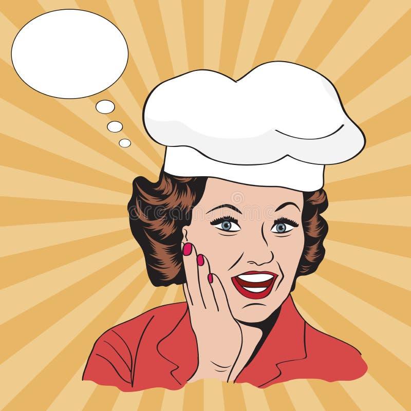 Senhora Chef, ilustração retro ilustração stock