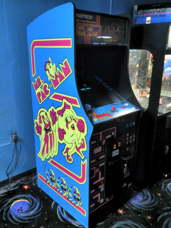 Senhora Clássico Arcade Video Game Machine de Pacman/Galaga fotografia de stock royalty free