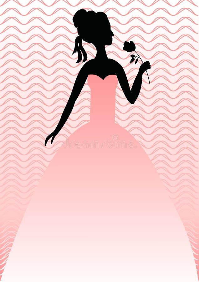 A senhora com aumentou no vestido cor-de-rosa no fundo cor-de-rosa com testes padrões ondulados Silhueta da cabeça, dos ombros e  ilustração do vetor