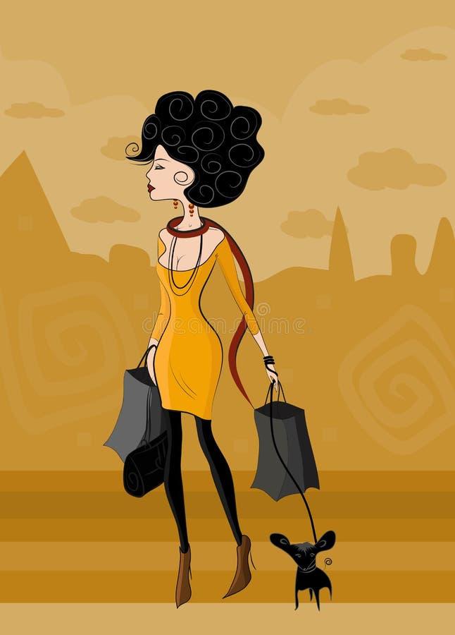 Senhora com cão ilustração royalty free