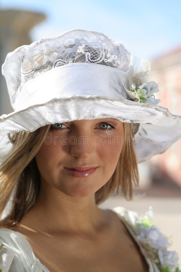 Senhora com chapéu imagens de stock