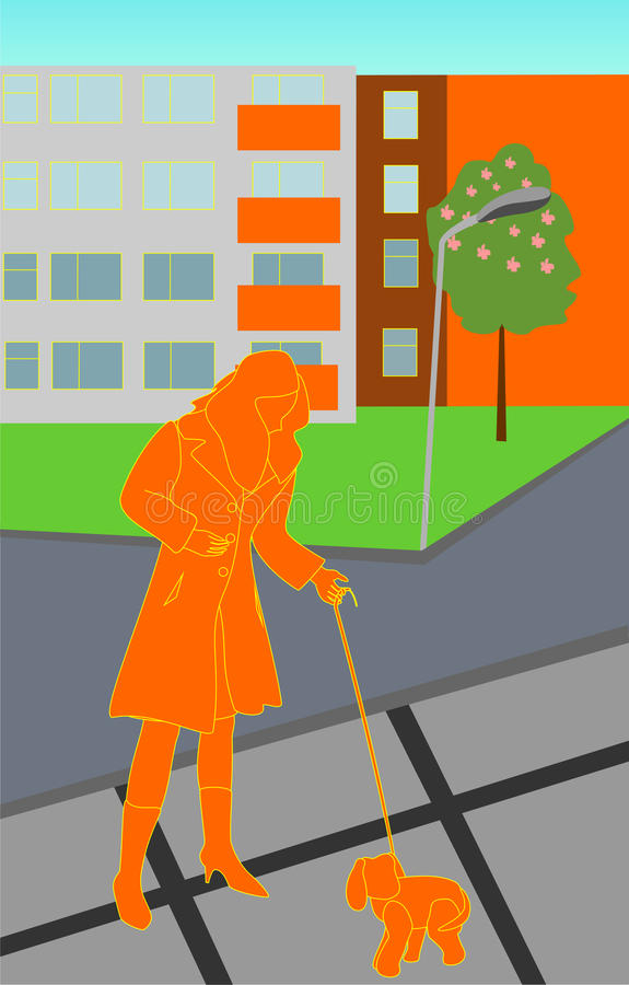 Senhora com doggy ilustração do vetor
