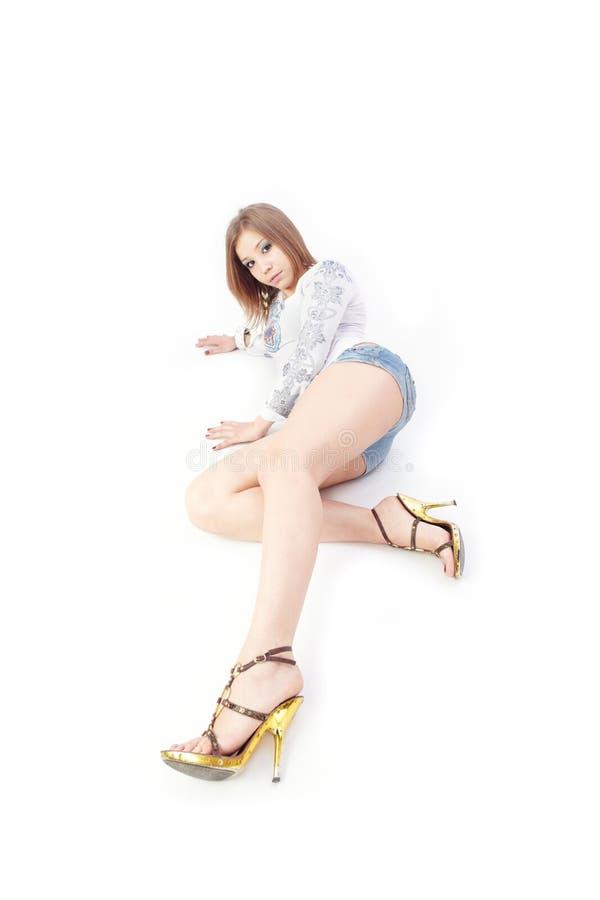 Senhora com pés bonitos foto de stock royalty free