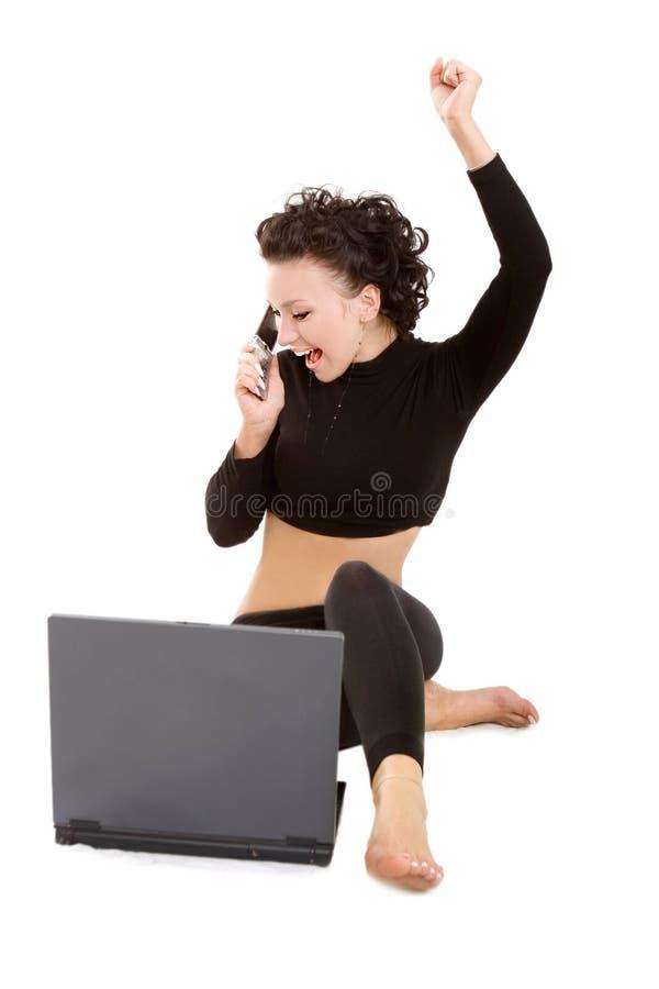 Senhora com portátil e móbil fotos de stock