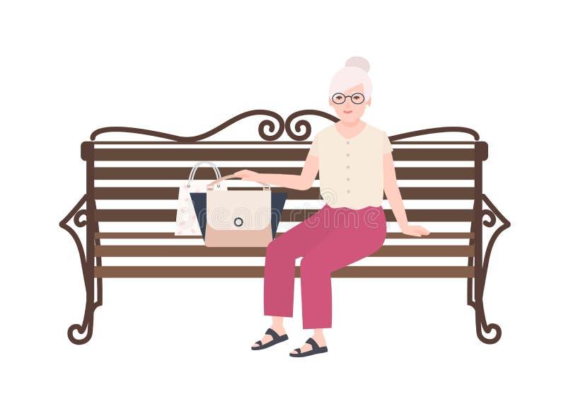 Senhora consideravelmente idosa ou avó que sentam-se no banco da rua Retrato da mulher idosa que relaxa fora Plano fêmea feliz ilustração royalty free
