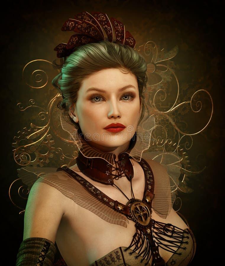 Senhora 3d CG da forma de Steampunk ilustração royalty free