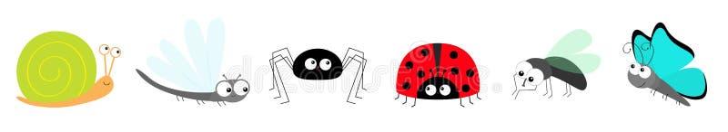 A senhora da borboleta do caracol desinseta a joaninha voa a linha do grupo do ?cone do inseto da lib?lula da aranha da mosca O b ilustração royalty free