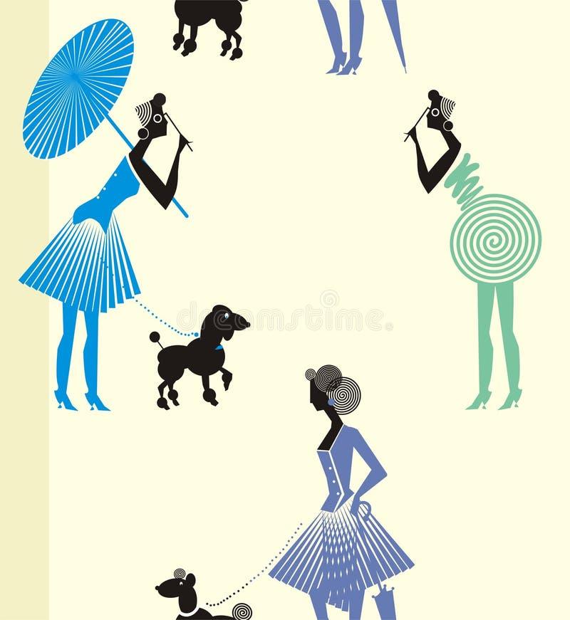 senhora da caminhada do divertimento com vestido ilustração do vetor