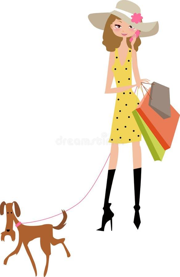 Senhora da compra com cão ilustração stock