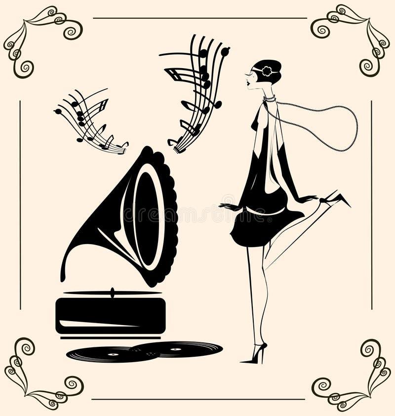 senhora da dança do vintage ilustração do vetor