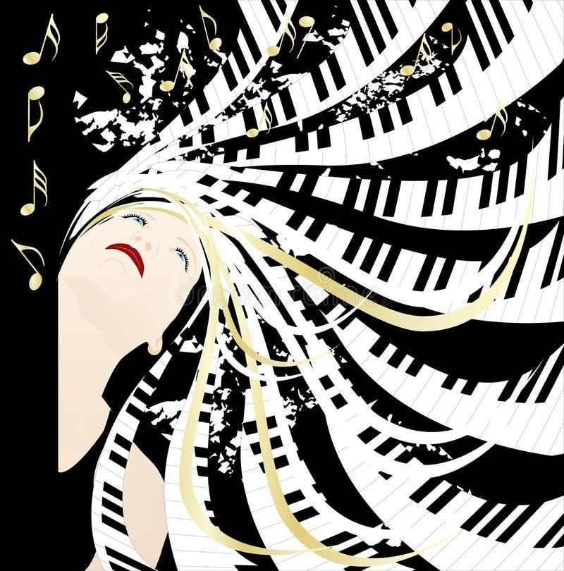 Senhora da música ilustração stock