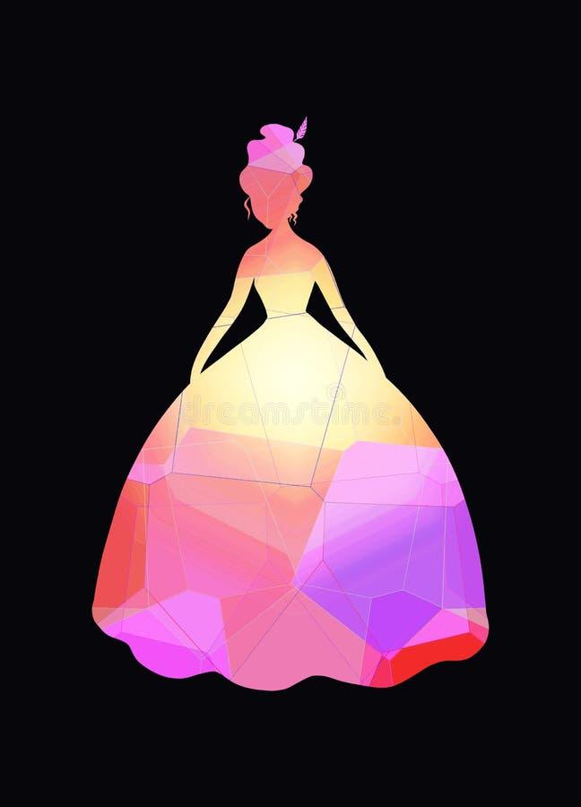 Senhora da silhueta no vestido de bola ilustração stock