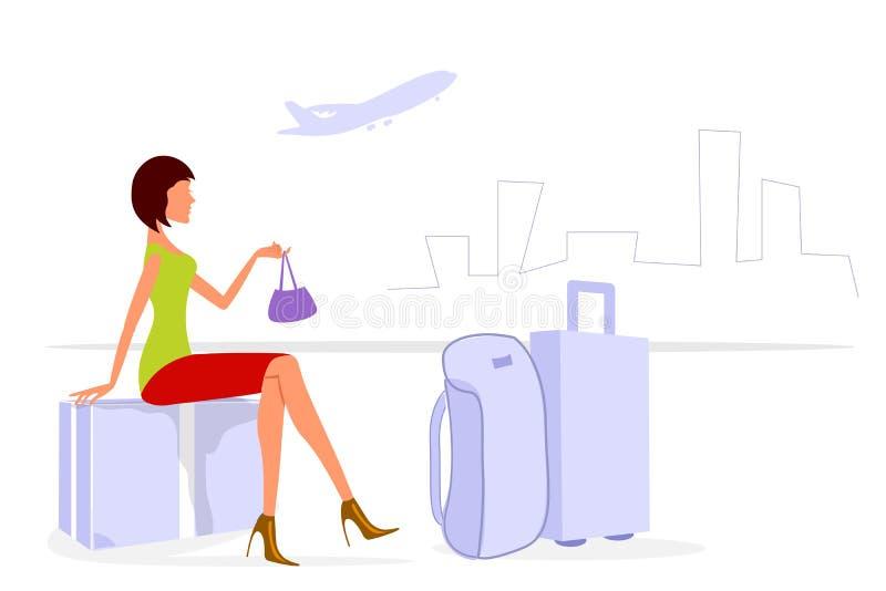 Download Senhora da viagem ilustração stock. Ilustração de pessoa - 16870642