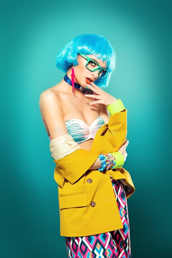 Senhora de cabelo azul fotografia de stock royalty free