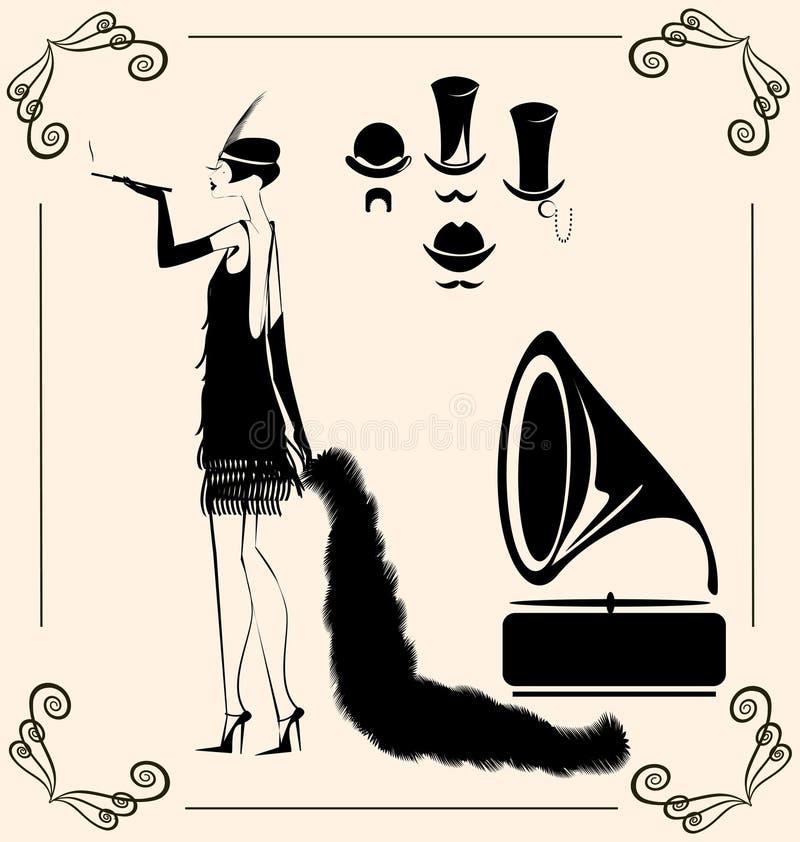 senhora de fumo do vintage ilustração royalty free