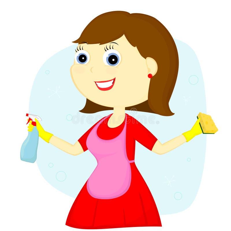 Senhora de limpeza ilustração royalty free