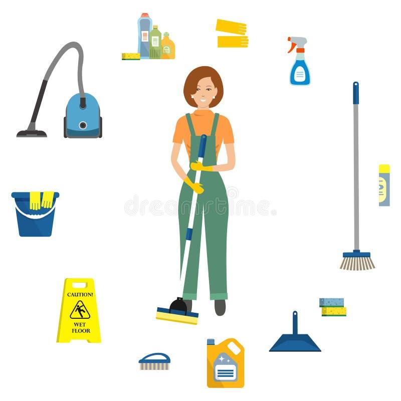 Senhora de limpeza cercada por objetos para limpar ilustração stock
