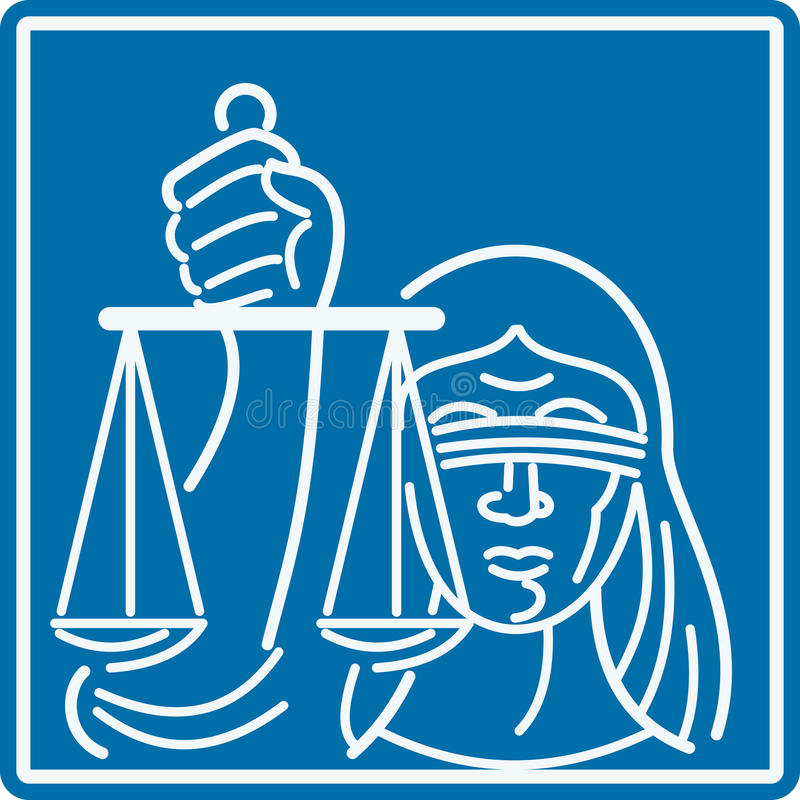 Senhora De olhos vendados Terra arrendada Escamação de justiça ilustração stock