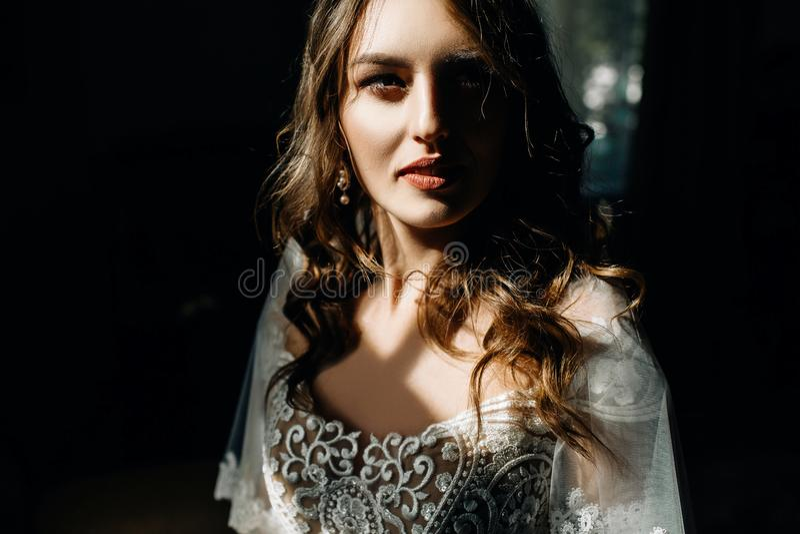 A senhora de Stuning com cabelo louro escuro e olhos azuis profundos brilha dentro imagens de stock