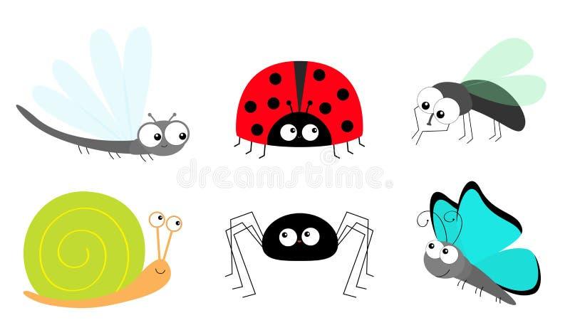 A senhora desinseta a joaninha voa o grupo do ?cone do inseto do caracol da lib?lula da borboleta da aranha da mosca O beb? ca?oa ilustração do vetor