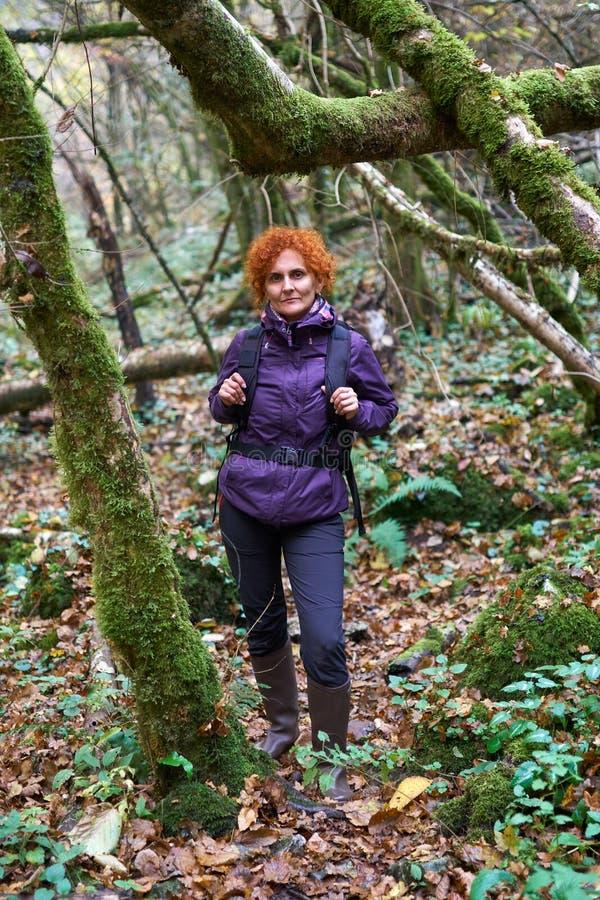 Senhora do caminhante com a trouxa na floresta fotos de stock royalty free