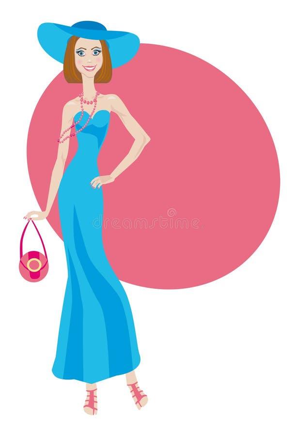 Senhora do encanto no vestido azul ilustração stock