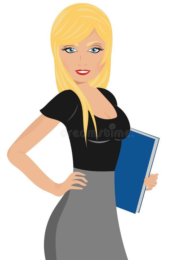 Senhora do escritório que prende um dobrador ilustração royalty free