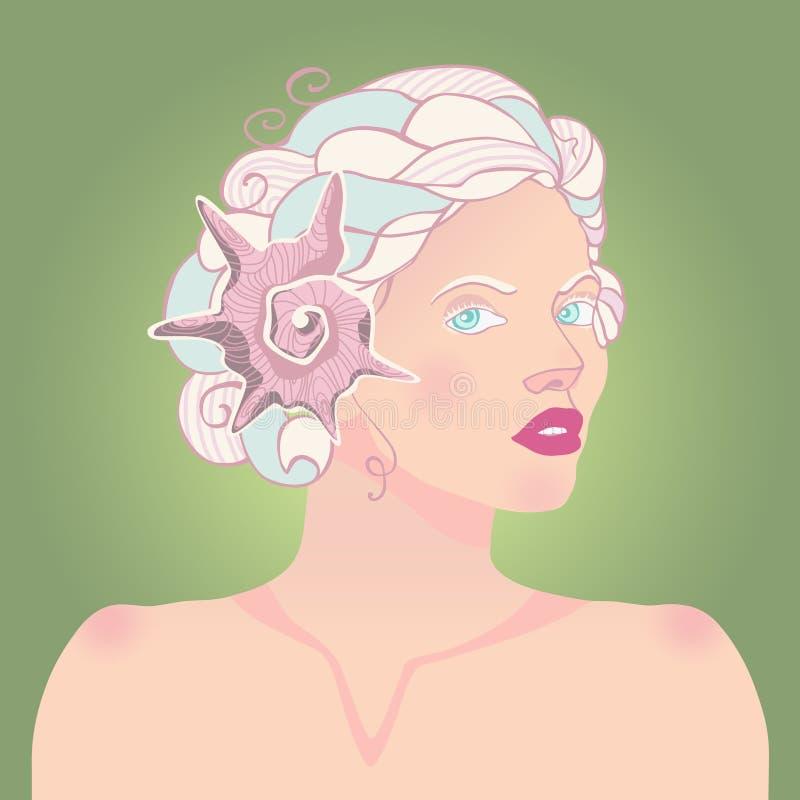 Senhora do fauno com os chifres do cordeiro ilustração royalty free