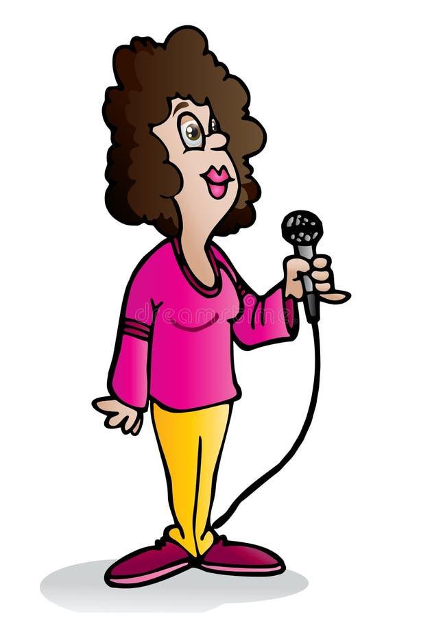 Senhora do karaoke ilustração do vetor